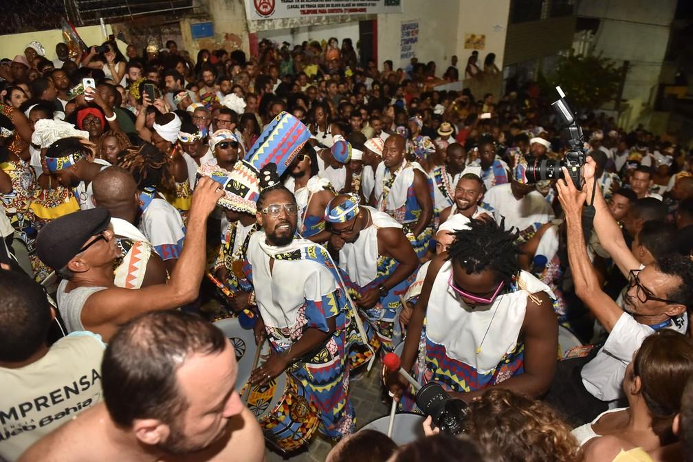 Bloco afro Ilê Aiyê saiu no carnaval em Salvador neste sábado (22). — Foto: Adriano Cardoso/Ag Haack