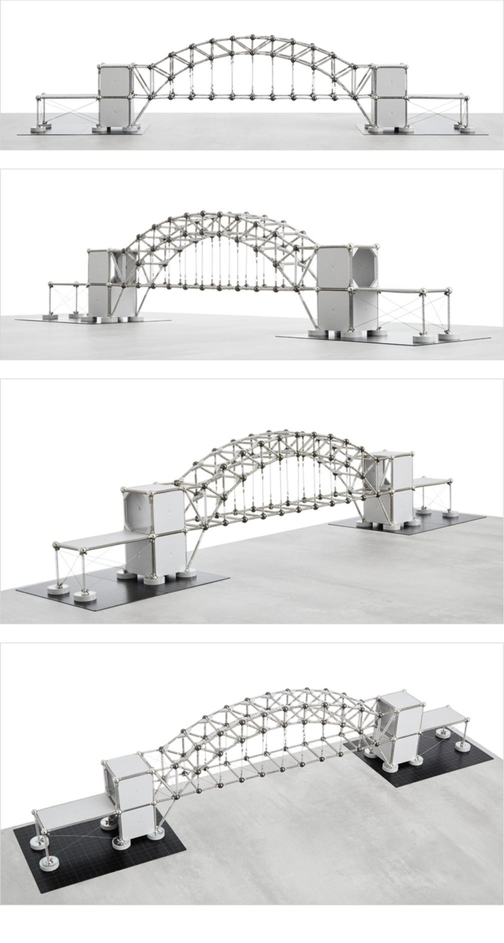 Maquete da Ponte da Baía de Sydney (Harbour Bridge) feita com o Kit Estrutural Mola 3 — Foto: Divulgação/Márcio Sequeira