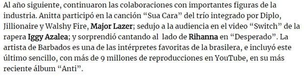Trecho de matéria da Billboard Argentina (Foto: Reprodução)