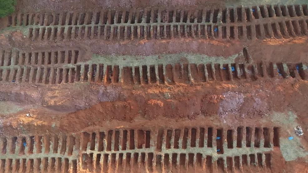 Covas abertas no cemitério da Vila Formosa, que fica na Zona Leste de SP — Foto: Reprodução/GloboNews