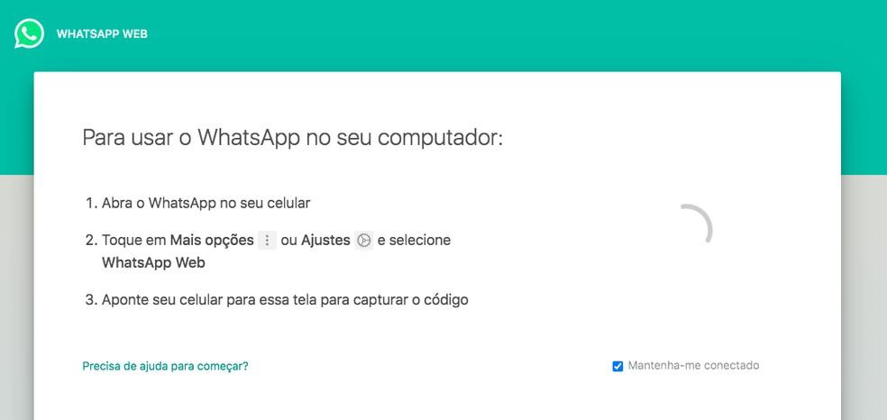 Instabilidade no WhatsApp não deixa carregar QR Code da versão web — Foto: Reprodução/TechTudo