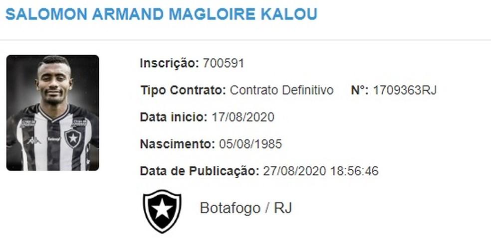 Nome de Kalou já apareceu no BID da CBF — Foto: Reprodução