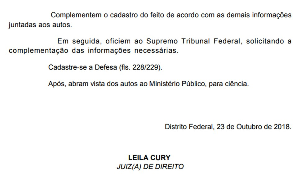 Decisão da VEP que pede mais informações ao Supremo sobre condição de Acir Gurgacz — Foto: Reprodução