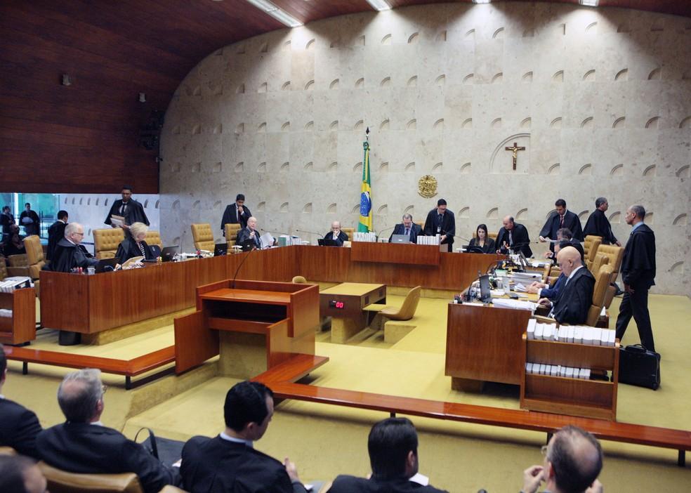 Ministros do STF no plenário do tribunal durante o julgamento desta quarta-feira (29) — Foto: Carlos Moura/SCO/STF