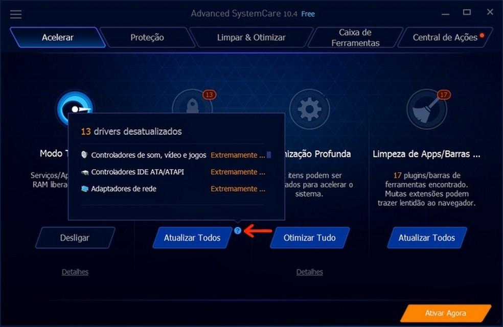 Lista de drivers do Windows desatualizados  (Foto: Reprodução/Raquel Freire)