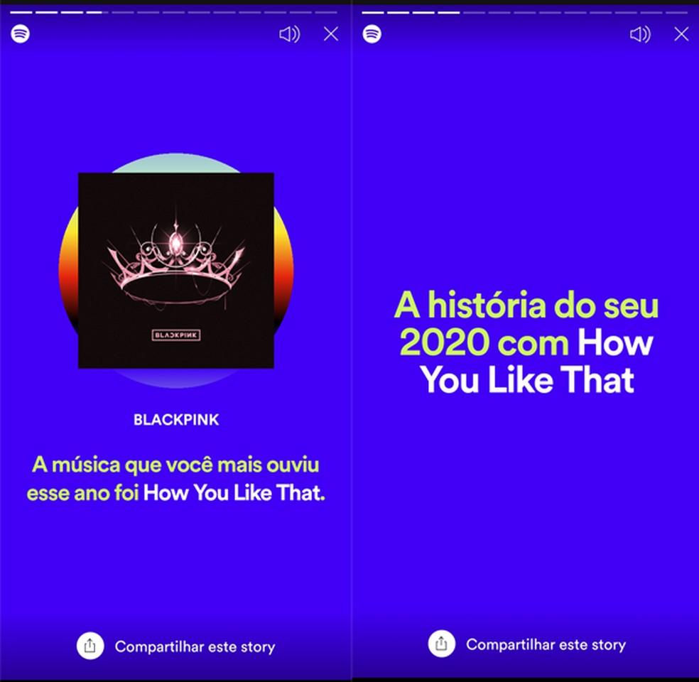 2020 Wrapped diz qual foi a música mais escutada — Foto: Reprodução/TechTudo