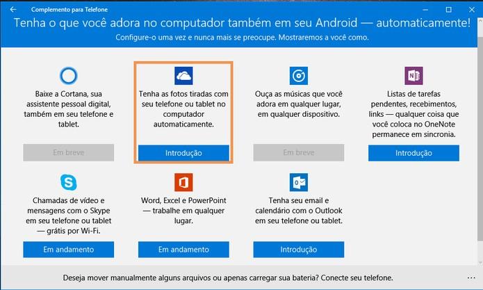 Observe os apps disponíveis para sincronização entre o Android e computador com Windows 10 (Foto: Reprodução/Barbara Mannara)