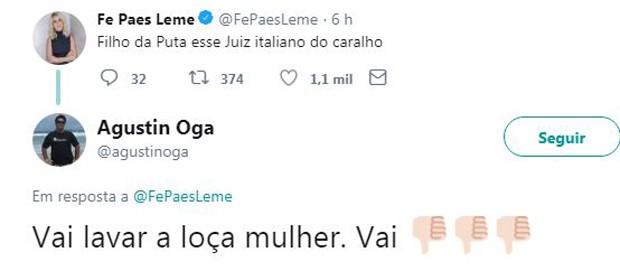 Fernanda Paes Leme comenta jogo do Brasil no Twitter (Foto: Reprodução/Twitter)