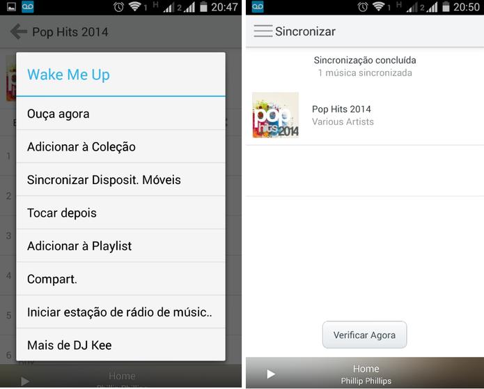 Sincronização de músicas no Rdio para ouvir offline (Foto: Reprodução/ Marcela Vaz)