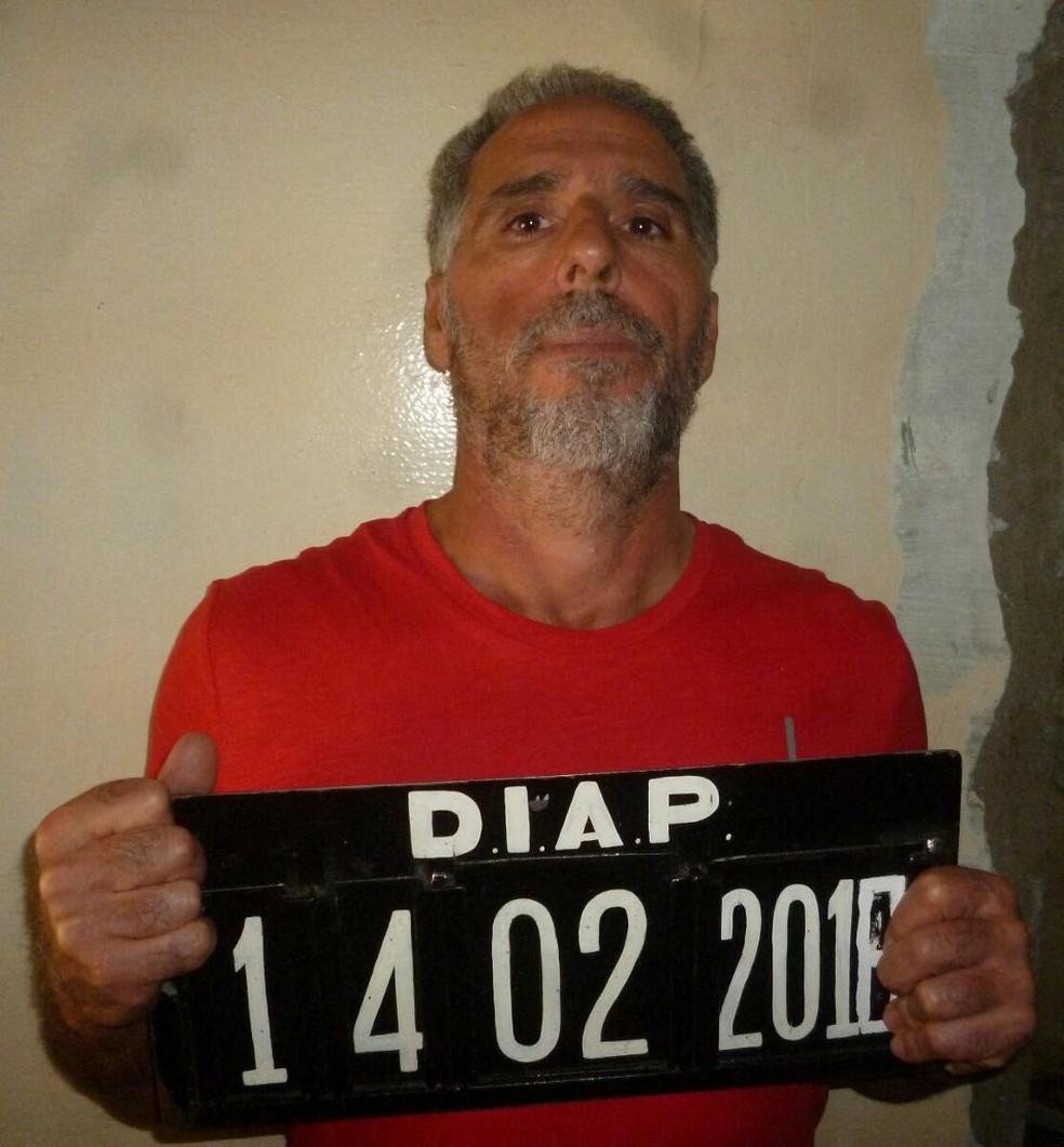 Imagem de Rocco Morabito quando foi detido no Uruguai — Foto: Divulgação/Via AFP