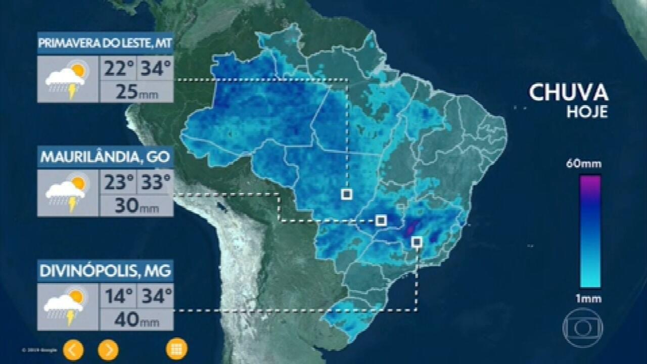 Previsão é de chuva forte no ES e em quase todo estado de MG nesta sexta-feira