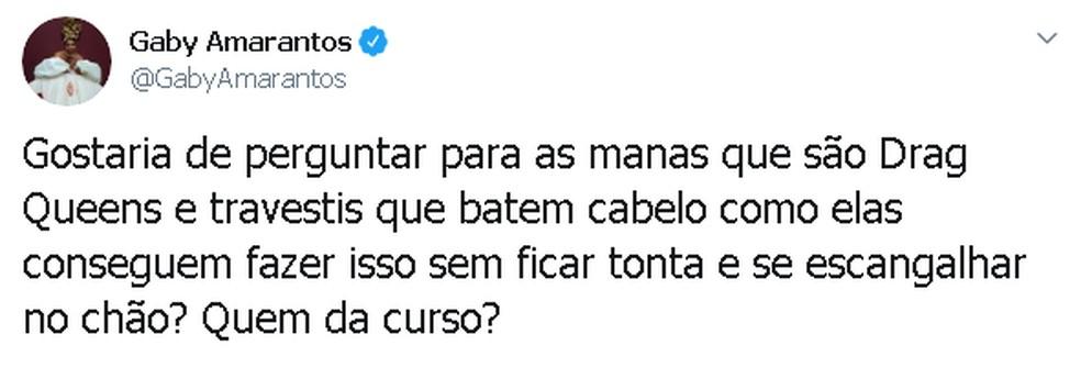 Gaby brinca sobre queda durante show em Belém. — Foto: Reprodução / Twitter