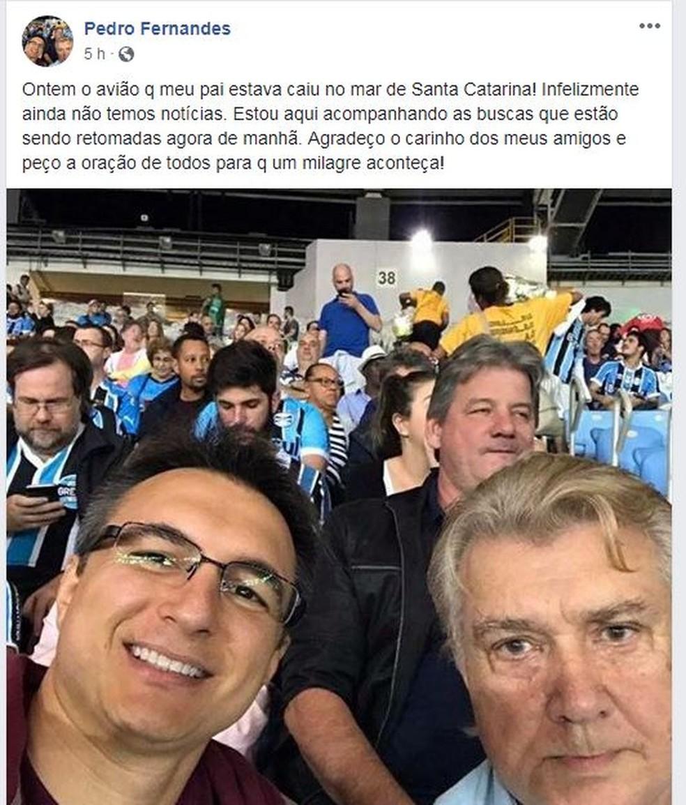 Pré-candidato ao governo do Rio, Pedro Fernandes, pediu apoio por meio das redes sociais para o pai (Foto: Reprodução/ Facebook) (Foto: Reprodução/ Facebook)