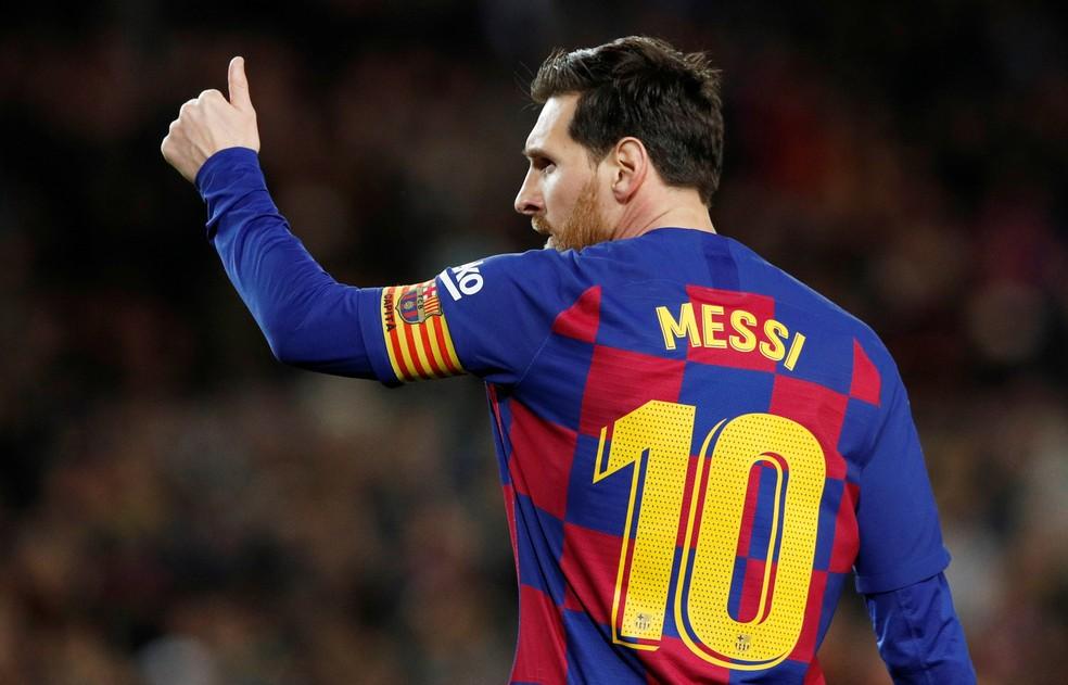 Messi garantiu a vitória do Barcelona sobre a Real Sociedad — Foto: REUTERS/Albert Gea