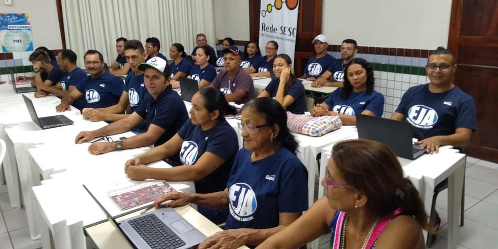 Turma do EJA  do Centro Educacional SESC LER de Quixeramobim. — Foto: Divulgação