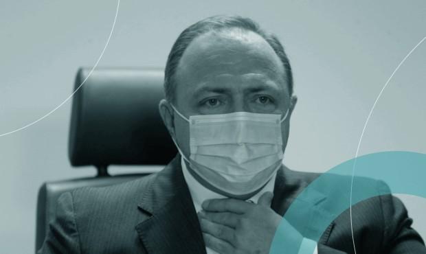 Eduardo Pazuello em entrevista como ministro da Saúde, no Rio de Janeiro, no Into