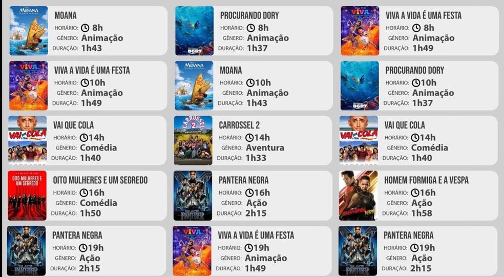 Horário e duração dos filmes que serão transmitidos durante as sessões do cinema itinerante em Parauapebas. — Foto: Divulgação