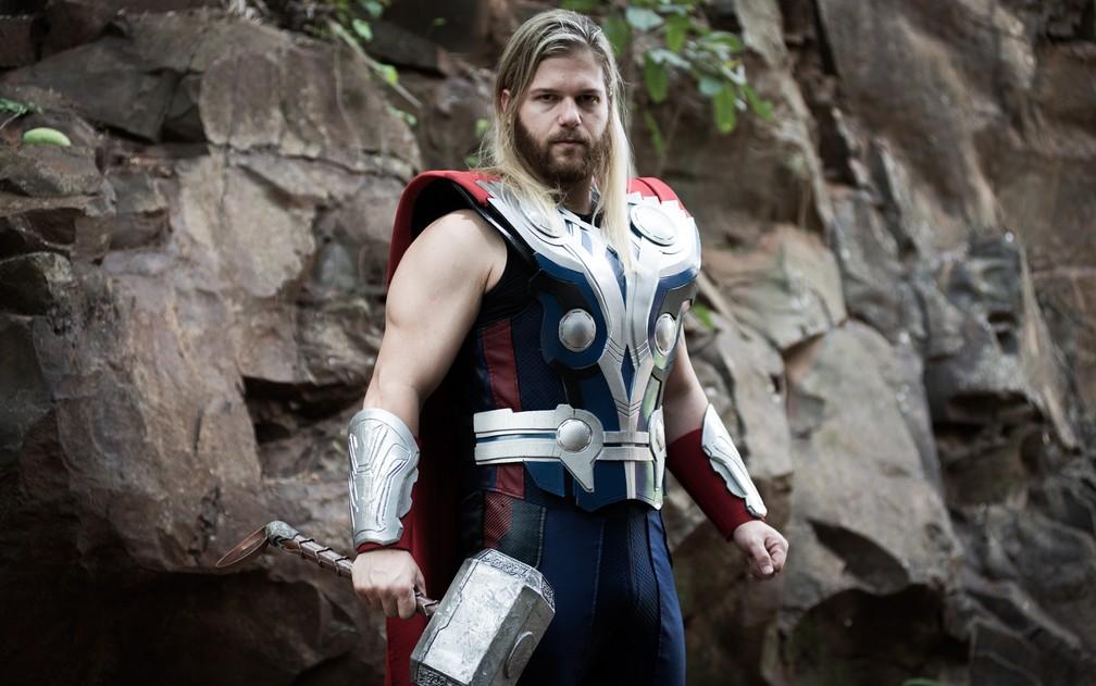 Jorge Gabriel Grassi, cosplay do personagem Thor, em Ribeirão Preto (Foto: Érico Andrade/G1)