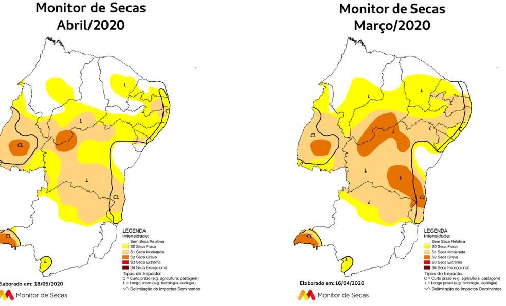 Comparativo do mapa Monitor de Secas nos meses de abril e março.  — Foto: Monitor de Secas