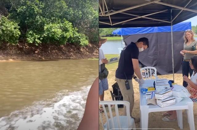 Juliana Paes gravou um dos rios da região e mostrou o posto de testagem de Covid (Foto: Reprodução)