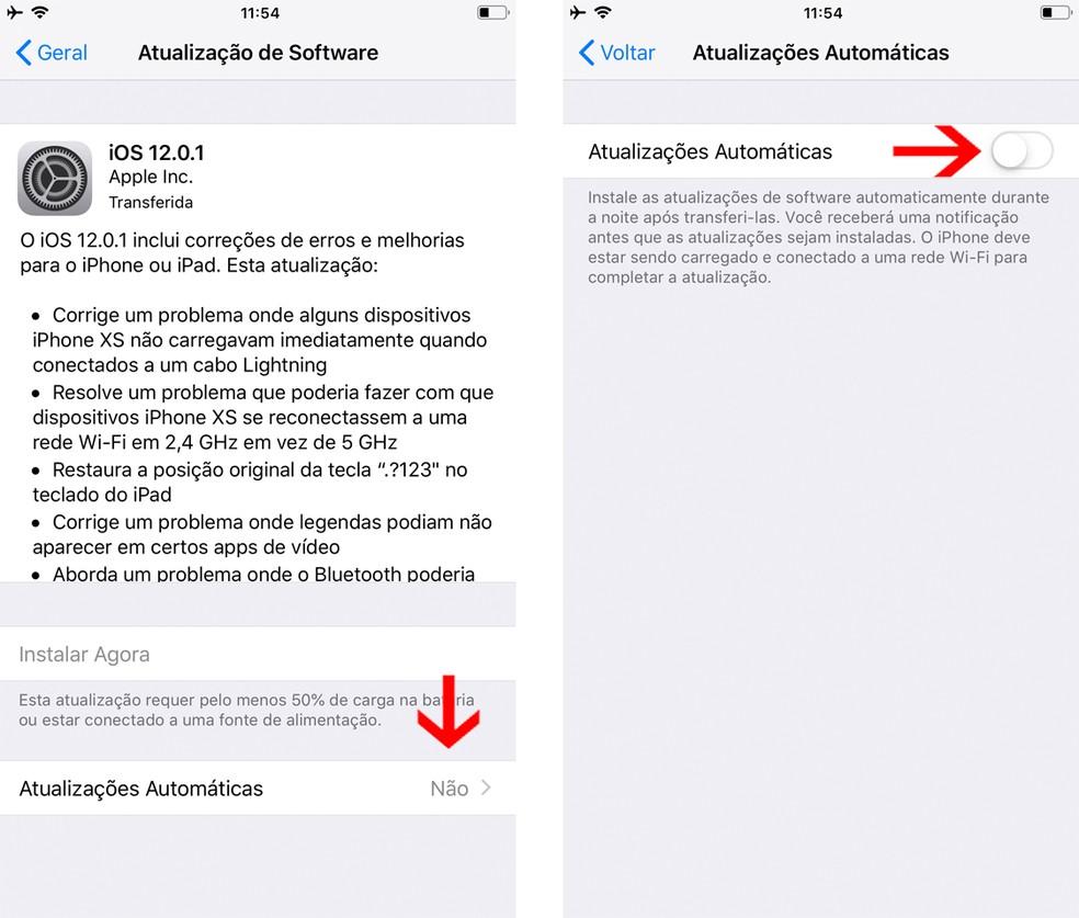 iOS 12: ative a atualização automática do sistema no iPhone, iPad e iPod Touch — Foto: Reprodução/Bruno De Blasi