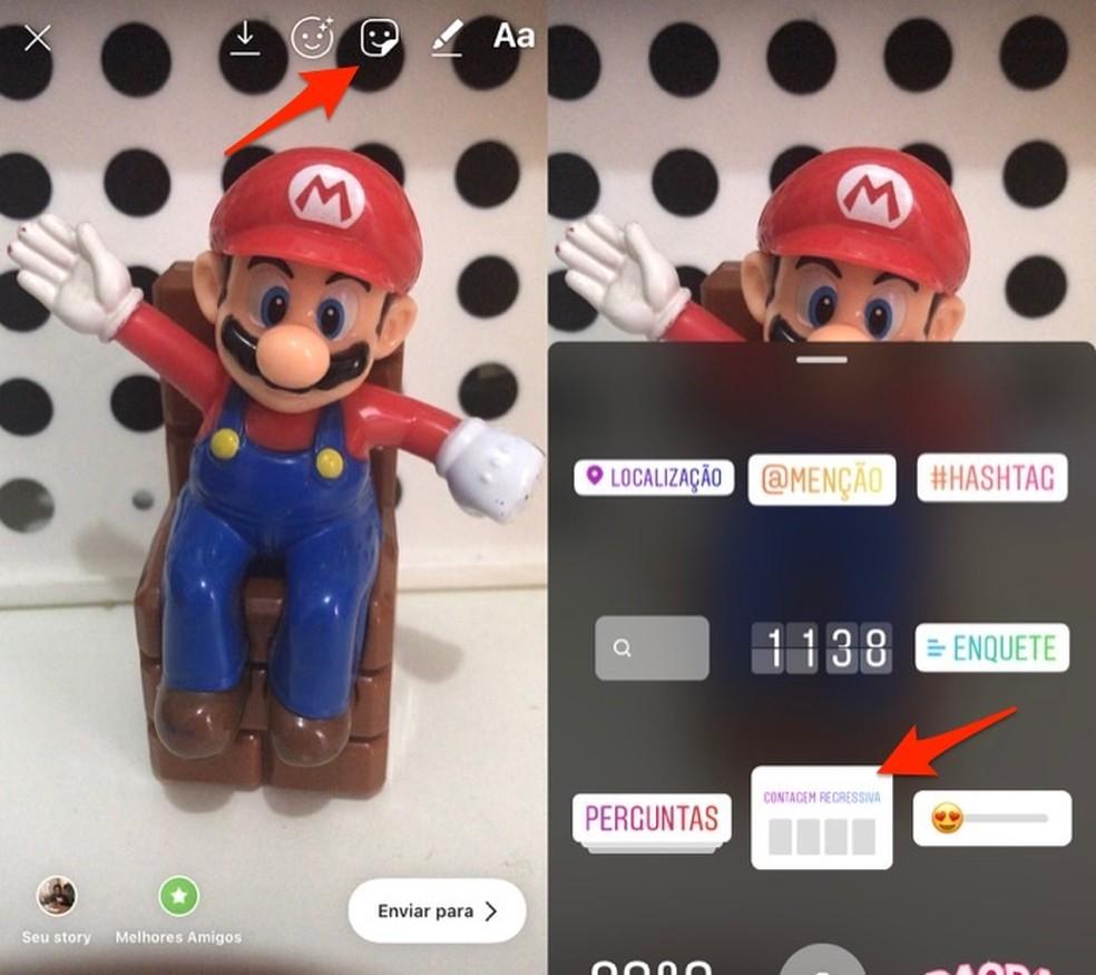 Ação para adicionar um adesivo de contagem regressiva em uma foto ou vídeo criado no Instagram Stories — Foto: Reprodução/Marvin Costa