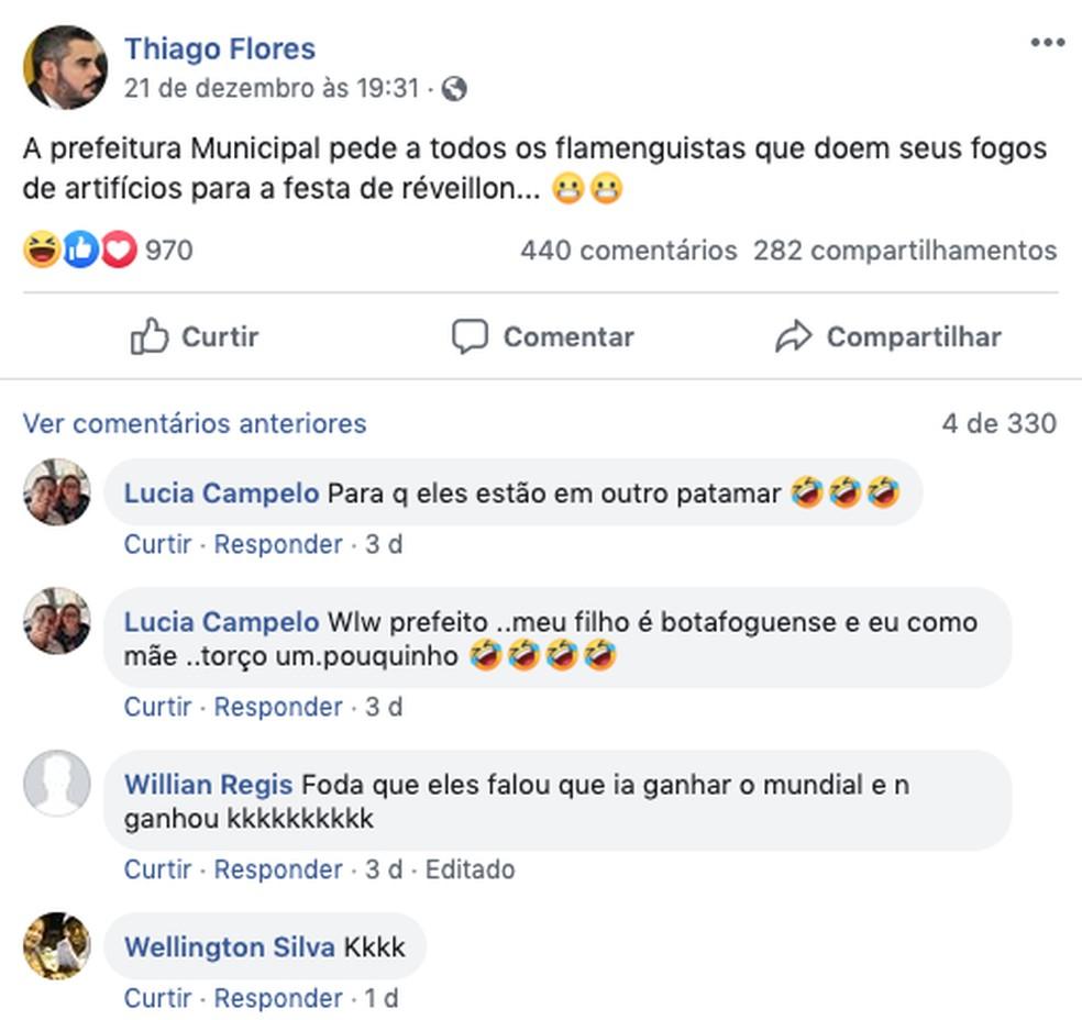 Prefeito de Ariquemes pede doação dos fogos de artifício dos flamenguistas — Foto: Facebook