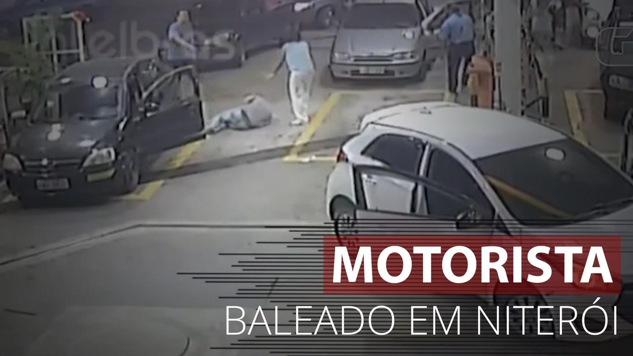 Veja o momento em que motorista é baleado em posto de gasolina de Niterói