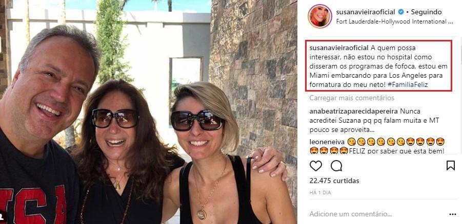 Susana Vieira ironiza rumores de que estaria hospitalizada (Foto: Reprodução/Instagram)