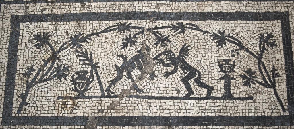 Pedras de moisaco encontradas na escavação (Foto: Soprintendenza Speciale di Roma)