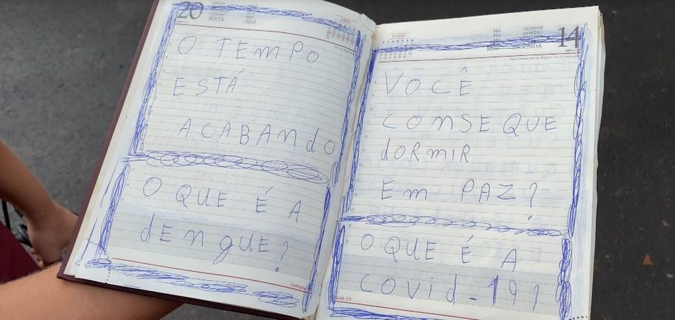 Caderno encontrado na casa de Juliano de Almeida Ribeiro, local onde foi registrado o crime em Araguari — Foto: Reprodução/TV Integração