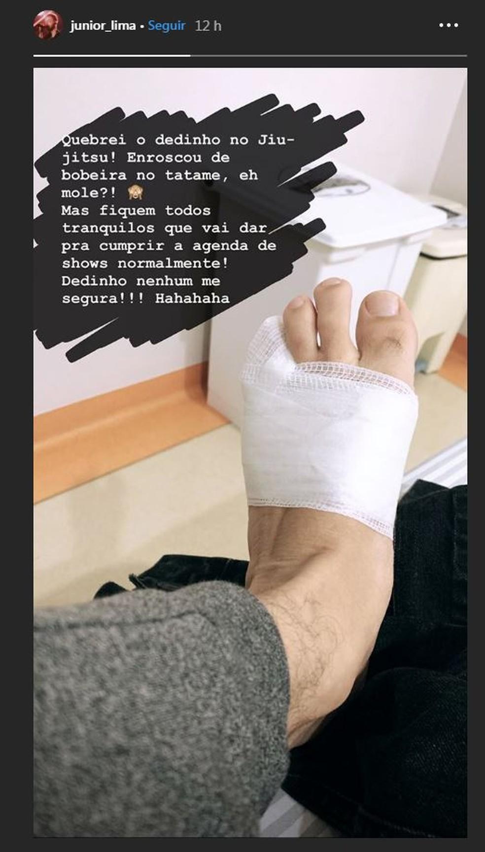 Junior Lima quebra dedo do pé durante prática de jiu-jitsu: 'Enroscou no tatame' — Foto: Reprodução/Instagram