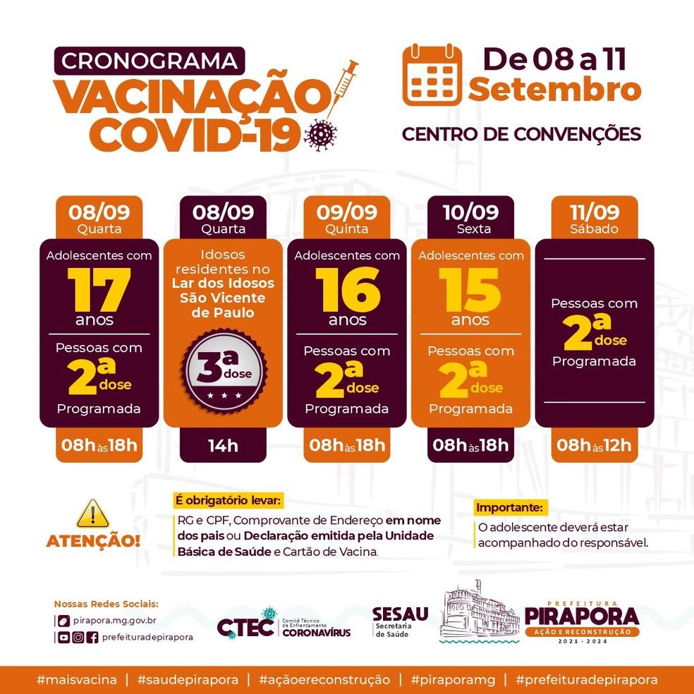 Cronograma de vacinação da Prefeitura de Pirapora — Foto: Prefeitura de Pirapora