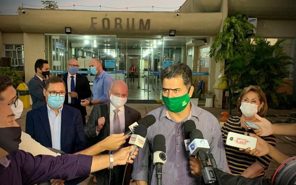 Emanuel Pinheiro e Lucimar Campos, prefeitos de Cuiabá e Várzea Grande, respectivamente — Foto: Luiz Alves