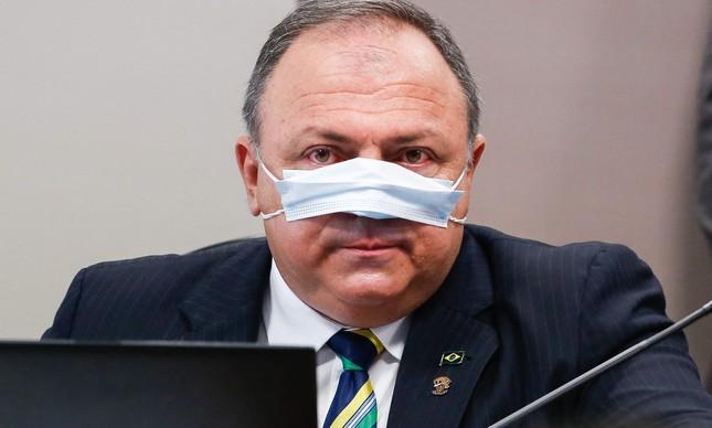 O ex-ministro Eduardo Pazuello em depoimento à CPI da Covid