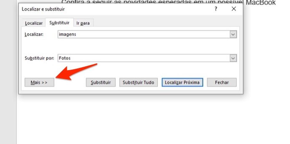 Ação para visualizar opções avançadas de substituição para termos no Microsoft Word — Foto: Reprodução/Marvin Costa