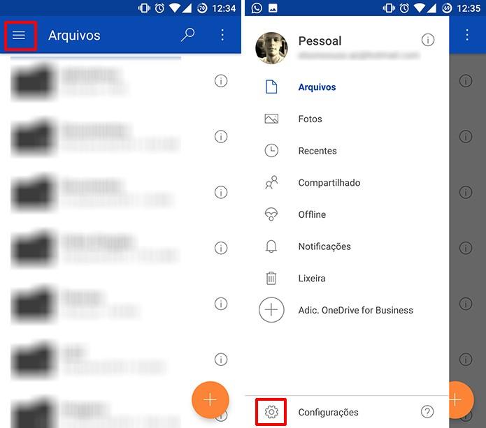OneDrive para Andorid pode ter backup de fotos ativado nas configurações (Foto: Reprodução/Elson de Souza)