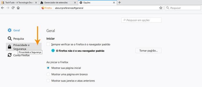 """Escolha a aba """"Privacidade & Segurança"""" (Foto: Reprodução/Pedro Cardoso)"""