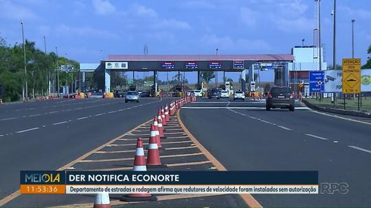 DER notifica concessionária Econorte para que remova cancelas extras e dispositivos para redução de velocidade em Jataizinho