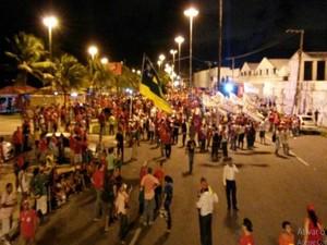 Caminhda foi até o Bairro Industrial (Foto: Flávio Antunes/G1)