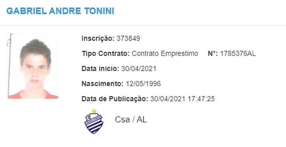 Gabriel Tonini tem nome publicado no BID — Foto: Divulgação/CBF