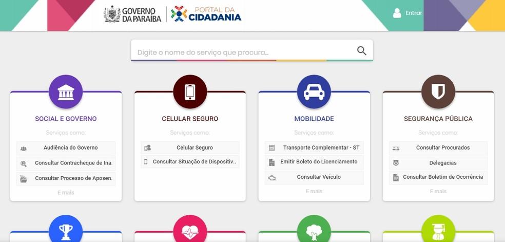 Internauta é direcionado para Portal da Cidadania quando acessa o site do Governo da Paraíba — Foto: Reprodução/Governo da Paraíba