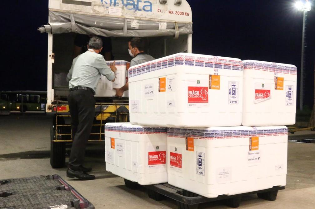 Novo lote de vacinas chegou ao RN — Foto: Raiane Miranda