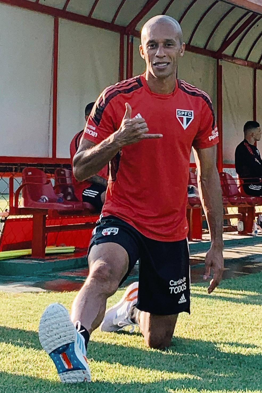 Miranda em treino do São Paulo — Foto: Divulgação São Paulo