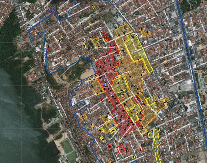 ec669b75a Mapa detalha nomes de ruas do bairro do Pinheiro, em Maceió, e gravidade  das rachaduras | Alagoas | G1