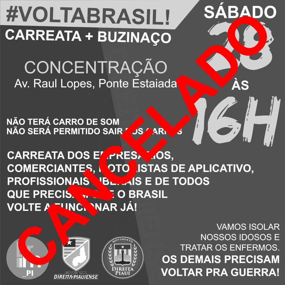 Movimento que iria acontecer neste sábado (28) foi cancelado — Foto: Divulgação
