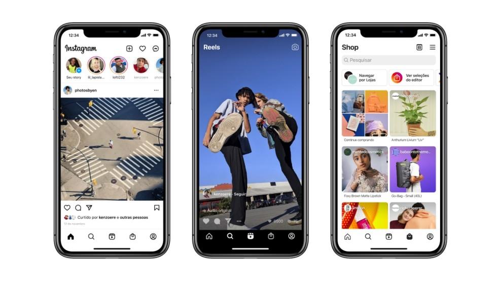 Instagram ganha nova tela inicial com destaque para Reels e Shop — Foto: Divulgação/Instagram