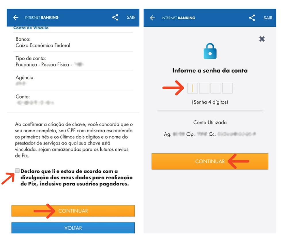 Autorize a divulgação do seu celular para a realização do Pix na Caixa — Foto: Reprodução/Lívia Dâmaso