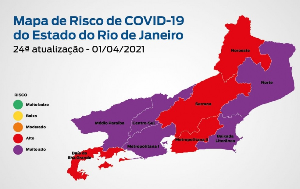 24ª atualização do Mapa de risco da Covid-19 no RJ: estado apresenta bandeira roxa — Foto: Governo do Estado do Rio de Janeiro/Divulgação