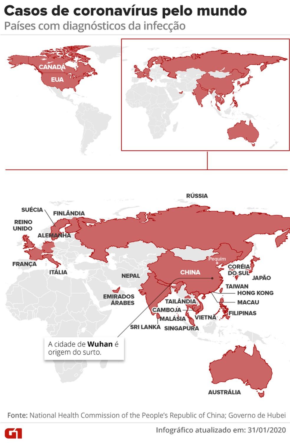 Casos confirmados de infecção por coronavírus pelo mundo.  — Foto: Arte/G1